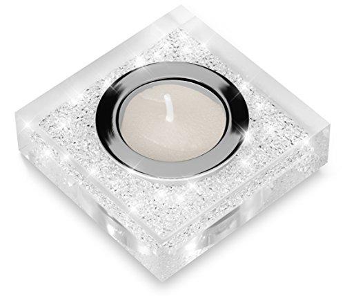 Elegante portacandele Lotus 1 con cristalli SWAROVSKI ELEMENTS - una luminosa decorazione da tavolo (trasparente)