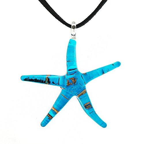 Hand Blown Venetian Murano Glass Golden Glitter Blue Starfish Big Pendant Necklace, 18-20'' (Italian Blown Glass Necklace compare prices)