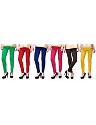 PVR Fashion Cotton Lycra Legging G/R/RB/F/black/N/white (Pack Of 6)