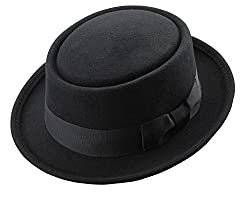 Men's Crushable Wool Felt PorkPie Fedora Hats Black DTHE09 (S/M)