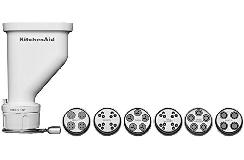 KitchenAid KSMPEXTA Gourmet Pasta Press Attachment with 6 Interchangeable Pasta Plates, White (Kitchenaid Pasta Maker Attachment compare prices)