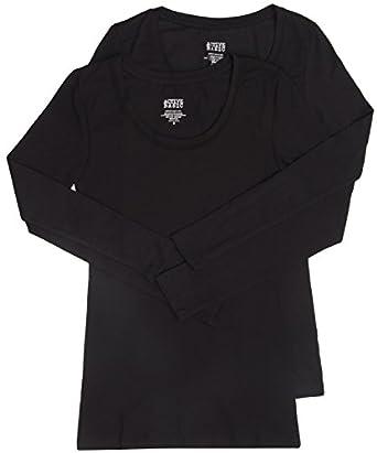 2 Pack Active Basic Women's Scoop Neck Tops Small Black, Black
