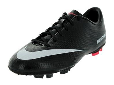 Nike Kids JR Mercurial Victory IV FG Soccer Cleats Black/White/Drk Chrcl/Atmc Rd 4.5 Kids US