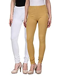 Desi Duos Women's Solid Cotton Leggings With Great White & Beige Color