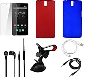 NIROSHA Tempered Glass Screen Guard Cover Case Headphone USB Cable Mobile Holder for - Combo
