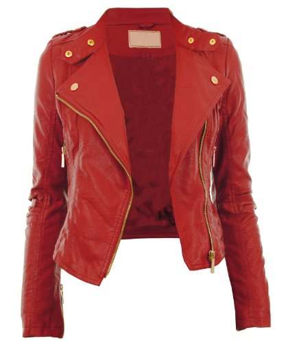 Gracious Girl Women's Diana Faux Leather Biker CropJacket Red 8