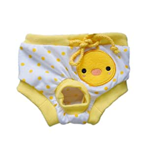 Adorable Polka Dot Dog Diaper Female Dog Sanitary Pant Cozy Dog Dress Free Shipping,Yellow Duck,L