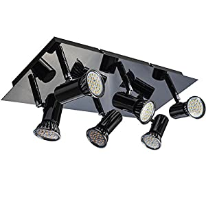 TOP-MAX Modern Metal Plate 6 Way Heads Adjustable Spotlight LED GU10 Fitting Rectangle Ceiling Spot Lamp Light Kitchens Dining Room Hallway Black Chrome by TOP-MAX