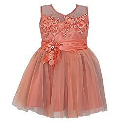 Chokree Orange Color Party Wear Dress/Frock for girl