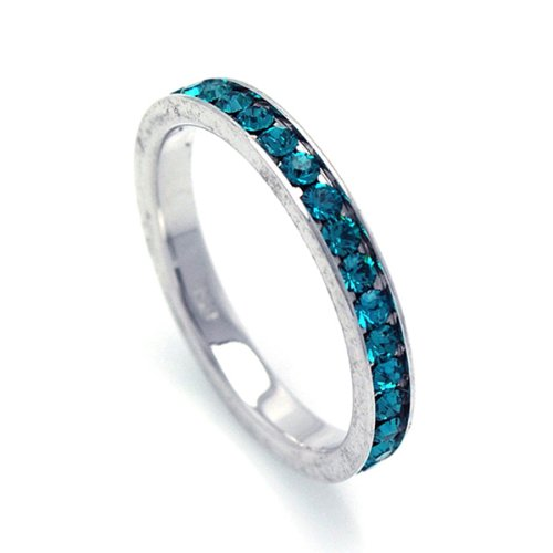 2.5mm Sterling Silver Channel Set Cubic Zirconia December Birthstone Blue Topaz Simulant Eternity Ring Band (Sizes 3 to 9) - Size 9