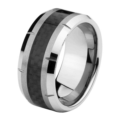 10Mm Black Carbon Fiber Cobalt Free Tungsten Carbide Comfort-Fit Wedding Band Ring For Men And Women (Size 7 To 15) - Size 9.5