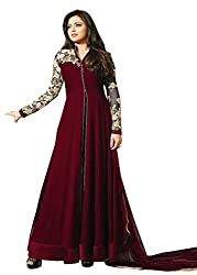 VIHA Maroon Georgette Embroidered Dress Material