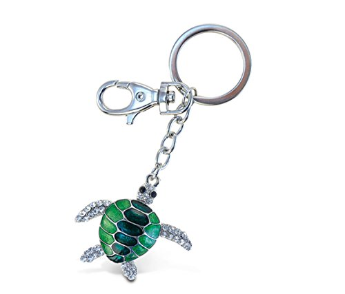 Puzzled Sea Turtle Sparkling Charm Keychain