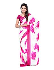 Ethnic Wear White & Pink Georgette Printed Saree