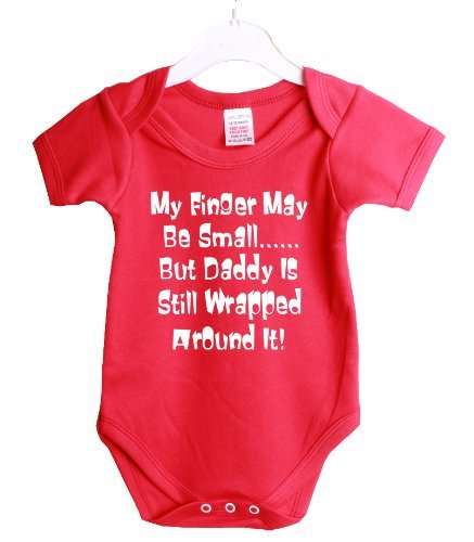Daddy Wrapped Around My Little Finger Funny Babygrow Baby Shower Gift Suit 12/18 Months Red Vest White Print-12/18 Months Red-White Print