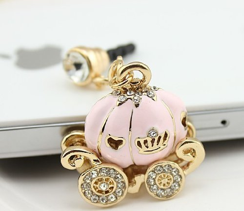 Bee&Rose New Cinderella'S Pumpkin Carriage Design 3.5Mm Earphone Jack Dustproof Plug Ear Dust Cap For Iphone 4, 4S ,5, 5S ,Samsungi9100,I9300,I9500,Galaxy S3/4 Note N7100,Htc,Nokia Lumia 920,Sony, Blackberry,Motorola ,Lg,Lenovo, Ipod Touch / Ipad And Any