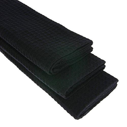 3x-Geschirrtuch-aus-100-Baumwolle-Waffel-Piqu-in-schwarz