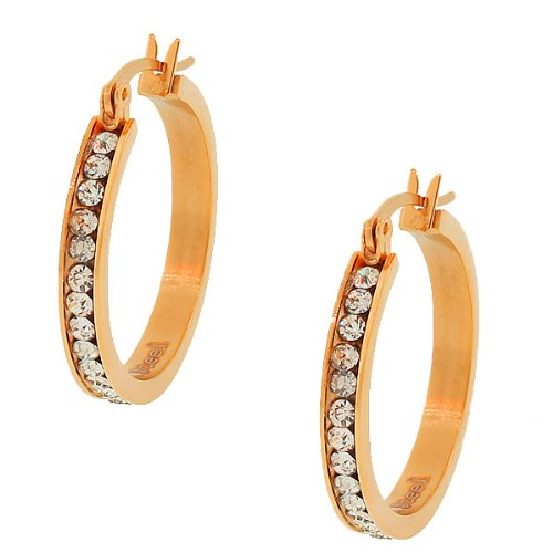 Stainless Steel Rose Gold Tone White Crystals Cz Womens Classic Hoop Earrings (0.98 Inches)