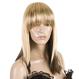 Debbie Harry Inspired Two Tone Blonde Brown Wig | Straight Razored Mid Length Wig
