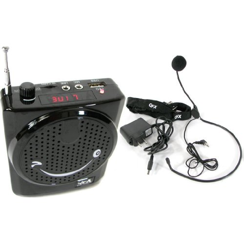 Qfx Rider Portable Waist-Band Portable Pa System Voice Audio Amplifier With Headset Microphone, Usb/Sd/3.5Mm Inputs Rechargeable Batteries