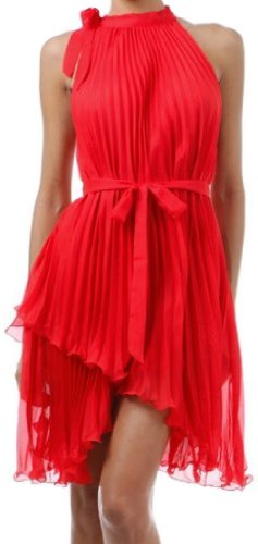 FOPleatSolid1-8209 Asymmetrical Hem Pleated Short Sleeveless Dress in Semi-Opaque Solid Colors - Red (One size)