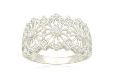 Sterling Silver Filigree Flower Diamond Ring (3/20 cttw, I-J Color, I2-I3 Clarity), Size 7