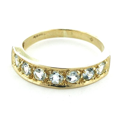 Solid English Yellow Gold Ladies Natural Aquamarine Eternity Band Ring - Size 6.75 - Finger Sizes 5 to 12 Available