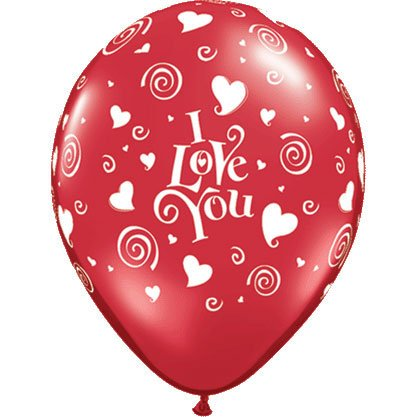 "11"" I Love You Swirling Hearts Latex Balloons (10 per package)"