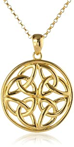 """18k Yellow Gold-Plated Sterling Silver Celtic Knot Pendant Necklace, 18"""""""