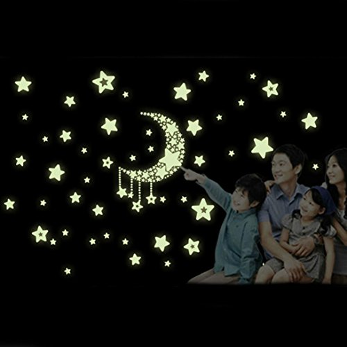 Ussore Wall Decals Moon Stars Removable Night Glow in the Dark Luminous (A)