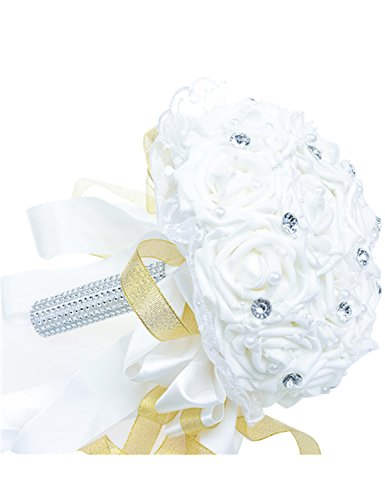 Favebridal Real Touch Flower Silk Rose Bridal Wedding Bouquet WF012WT