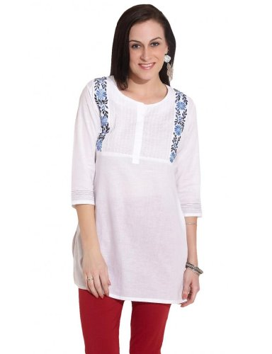 Kira Women's Cotton Floral Embroidered Yoke White Kurti (multicolor)