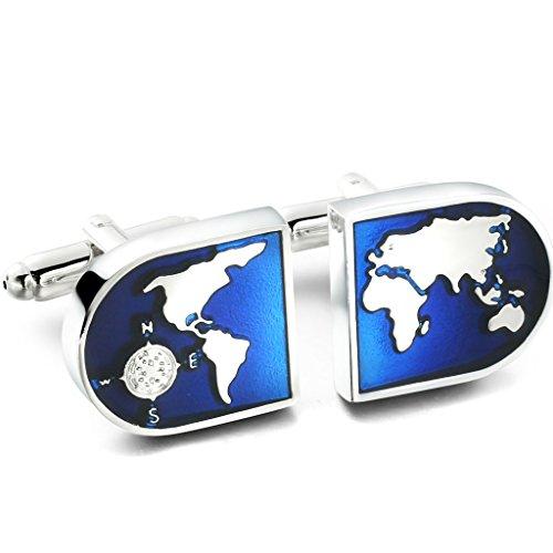 Jstyle Gioielli in Acciaio Inossidabile Gemelli Camicia da Uomo Mappa Mondiale di Colore Azzurro e Argento