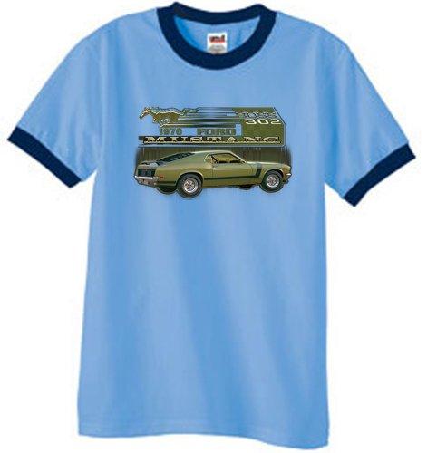 Ford Car 1970 Mustang Boss 302 Classic Adult Ringer T-Shirt Tee - Carolina Blue/Navy, Medium
