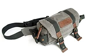 Yitao Deal Grey Canvas Vintage Waist Packs Dslr SLR Camera Shoulder Case Bag for Sony Canon Nikon Olympus Panasonic Pentax Dslr SLR