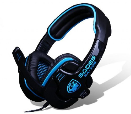 Blue Melody Best Elite Usb Wired Universal Top Stereo Pc Computer Mac Laptop Video Virtual Gaming Headset For Sa708 Black