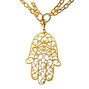 Large Hamsa Gold Dipped Pendant Necklace on 36