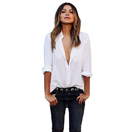 VESNIBA Women Sexy Blouse Long Sleeve Shirt Loose Pocket Shirts V Neck Tops (M, White) (Sexy Peasant Tops)