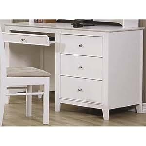 amazon com selena white computer desk by coaster kitchen amp dining room furniture amazon com
