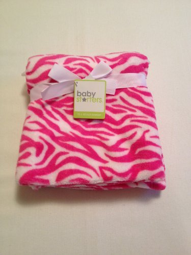 Hot Pink and White Zebra Girls Baby Blanket By Baby Starters Zebra Blanket Girls Nursery Shower Gift - 1