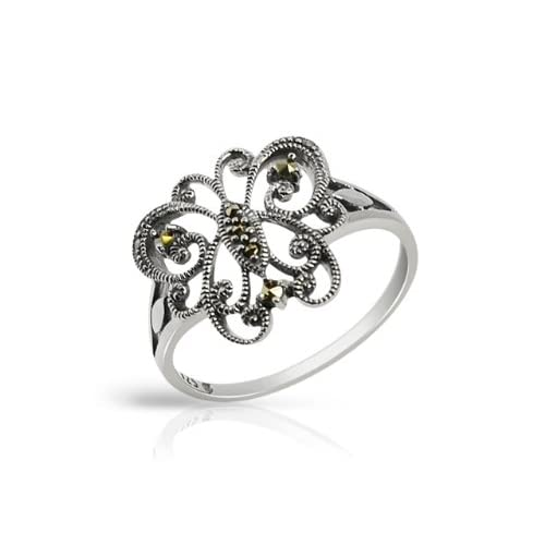 Esse-Marcasite-Sterling-Silver-Filigree-Butterfly-Marcasite-Dress-Ring-Size-M