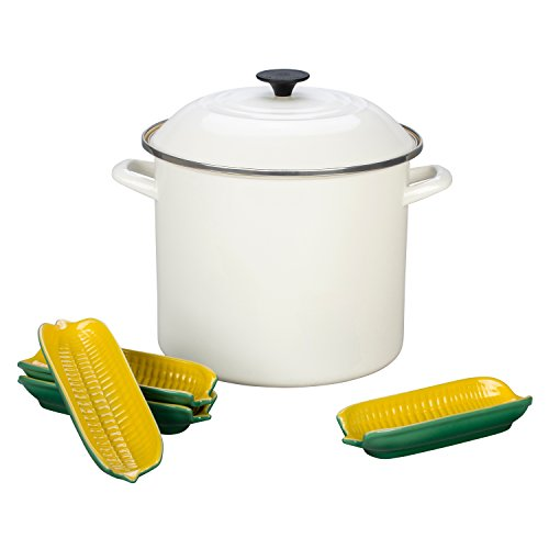 Le Creuset of America Enamel-on-Steel Sweet Corn Stockpot Set, 12 quart, White