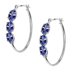 2.70 Ct Oval Blue Tanzanite 14K White Gold 4-prong Hoop Earrings 6x4mm