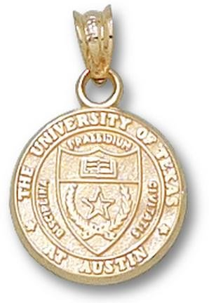 Texas Longhorns Seal 13MM Pendant - 14KT Gold Jewelry by Logo Art