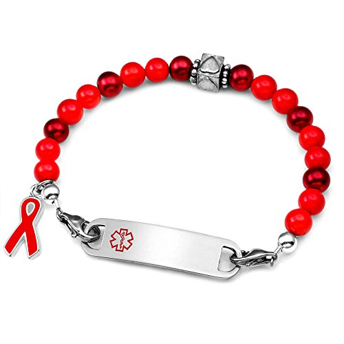Red Heart Awareness Beaded Medical Bracelet 7.5 In
