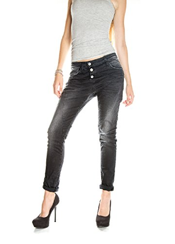 PLEASE - P78a jeans da donna nero baggy boyfriend s nero