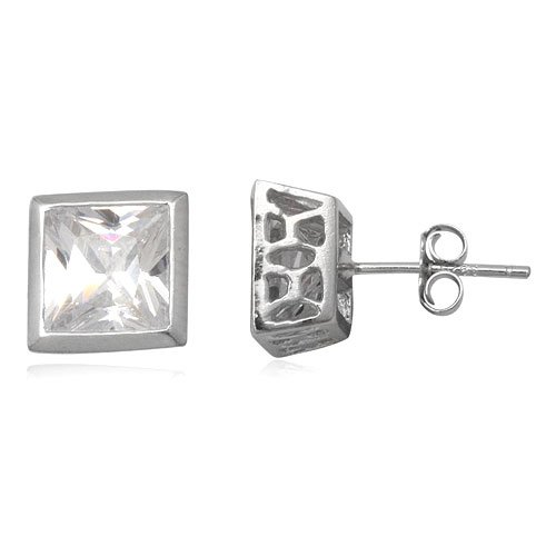 925 Sterling Silver White Cubic Zirconia 7mm Stud Earring for Man Jewelry