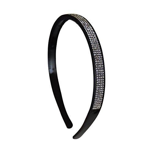 1/2 Inch Wide Rhinestone Studded Black Headband by Motique Accessories