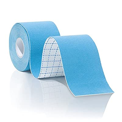 Kinesiology Tape for Athletes, Pre-cut Strips of Blue Therapeutic Sports Tape For Knees, Shoulders, and Elbows with Bonus eBook