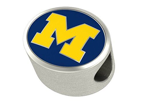 Michigan Wolverines U of M Sterling Silver Bead Fits Most European Style Charm Bracelets